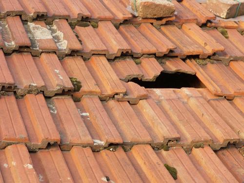 broken roof.