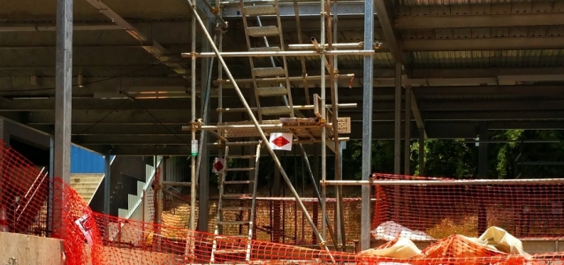 A Scaffold Tower On A Construction Site
