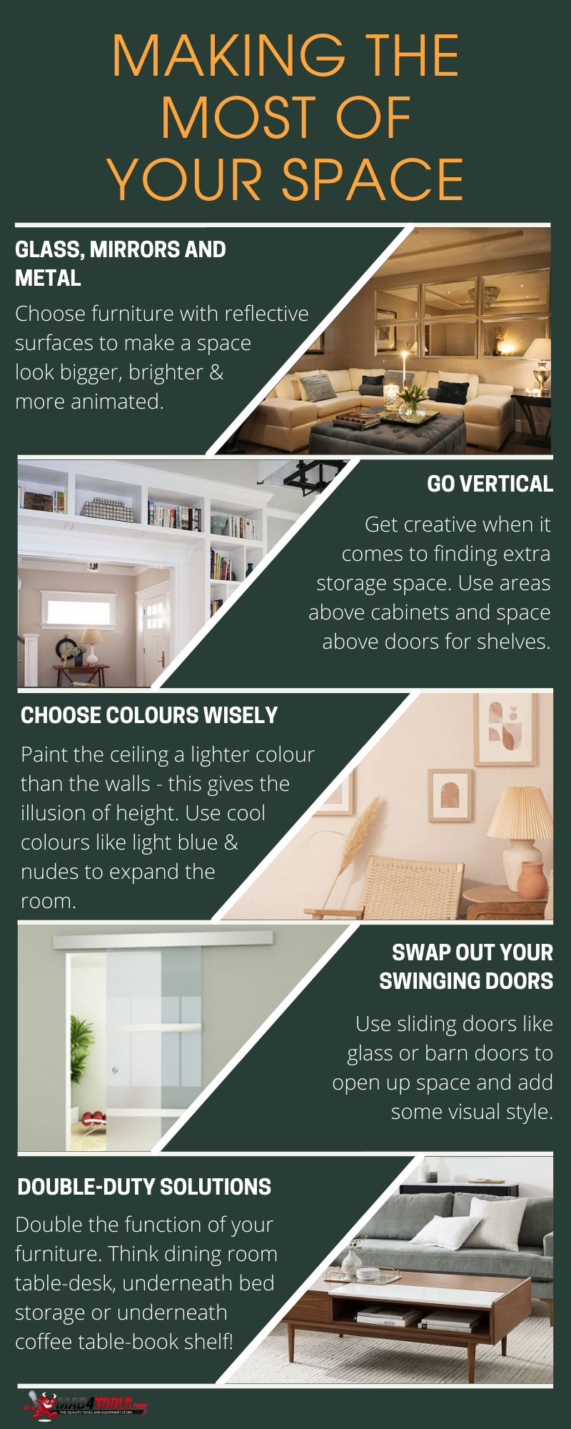 Infographic on tips and tricks for maximising a small space