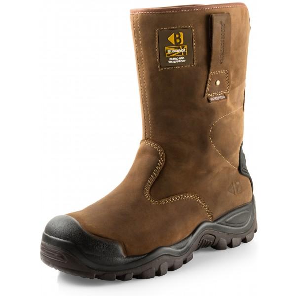 Buckler Waterproof Safety Rigger Work Boots in Dark Brown