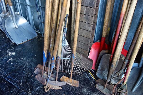 Wooden handled garden equipment