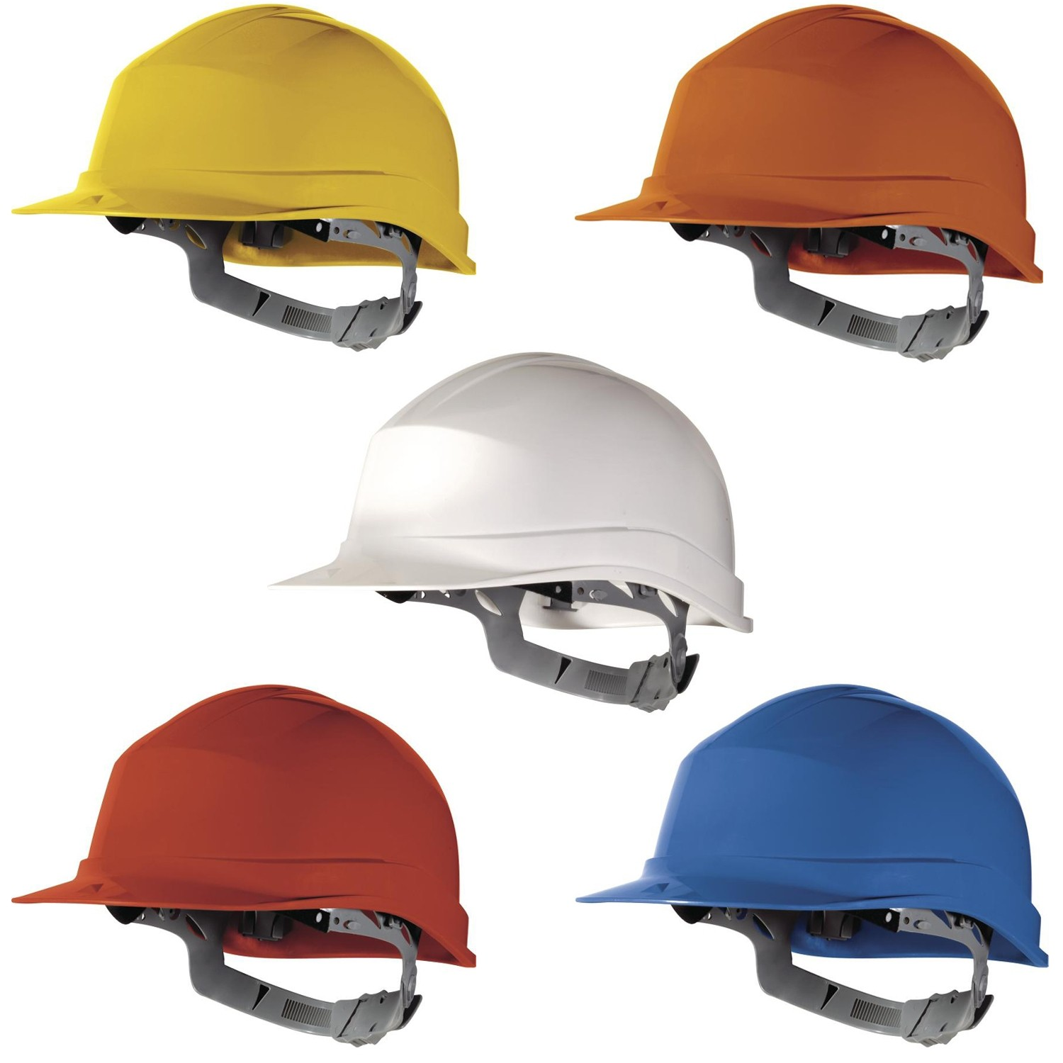 Delta Plus ORANGE DIAMOND Hard Hat Safety Helmet Hi Visibility Builders Industry