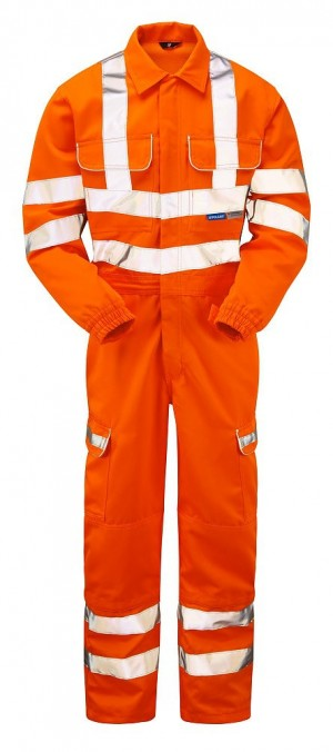 Pulsarail PR339 Hi-Vis Orange Teflon Coated Coverall - Rail Certified (Sizes S-XXXL)