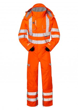 Pulsarail PR505 Hi-Vis Orange Unlined Coverall - Rail Certified (Sizes S-XXXL)