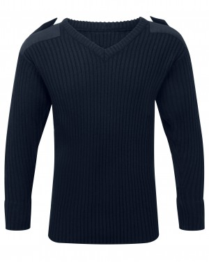 Fort V-Neck Combat Sweatshirt Jumper Navy (Sizes S-XXXXL)