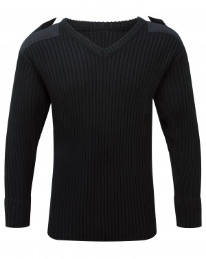Fort V-Neck Combat Sweatshirt Jumper Black (Sizes S-XXXXL)
