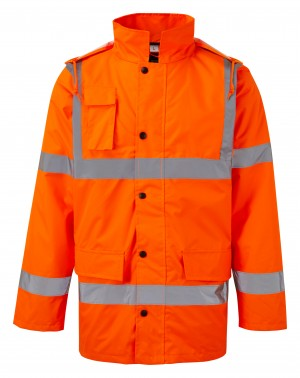 Fort Hi-Vis Waterproof Motorway Jacket Orange (Sizes S-XXXL)