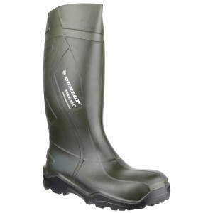 Dunlop Purofort Plus Safety Wellington Work Boots Green (Sizes 3-14)