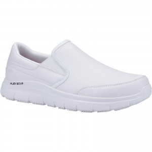 Skechers Bronwood Flex Occupational Shoes White (Sizes 6-13)