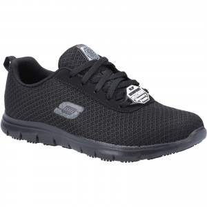 Skechers Ghenter Womens Occupational Trainer Shoes Black (Sizes 3-8)