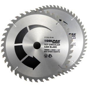 Toolpak Tradesman TCT Circular Saw Blades Pack of 2 (Various Sizes)