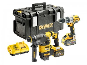 DeWalt DCK2033X2 FlexVolt XR Cordless 18/54v Brushless SDS Hammer & Combi Drill Twin Pack With 2 x Li-Ion 9.0/3.0Ah Batts