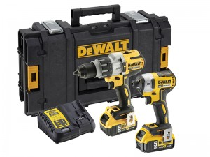 DeWalt DCK276P2 Cordless 18v Brushless Combi/Impact Driver Drill Twin Pack & 2 x Li-Ion 5.0Ah Batts