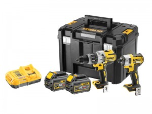 DeWalt DCK276T2T FlexVolt Cordless 18v Combi/Impact Driver Drill Twin Pack & 18/54v Charger With 2 x Li-Ion 6.0/2.0Ah Batts