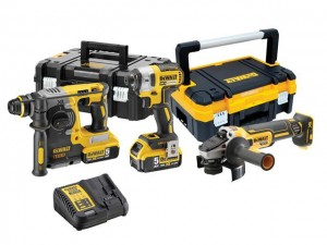 DeWalt DCK305P2T XR Cordless 18v Hammer/Impact Driver Drill & Angle Grinder Triple Kit With 2 x Li-Ion 5.0Ah Batts