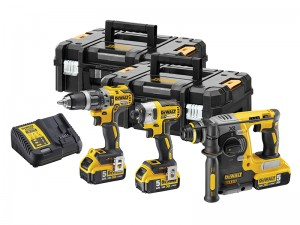 DeWalt DCK368P3T XR Cordless 18v 3 Piece Hammer & Impact Driver Drill Kit With 3 x Li-Ion 5.0Ah Batts