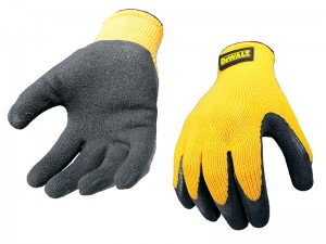 DeWalt DPG70L Yellow Safety Knit Back Latex Gloves