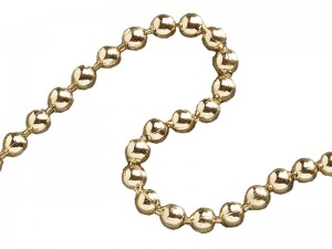 Faithfull Ball Chain 3.2mm Polished Brass 10-Metre Reel for Sink & Bath Plugs