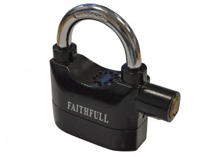 Faithfull Heavy Duty Padlock With Security Alarm & 3 Keys 70mm