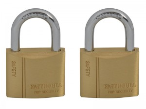 Faithfull Brass Padlock With 2 Keys 40mm