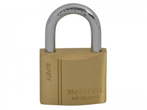 Faithfull Brass Padlock With 3 Keys (Various Sizes)