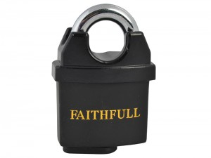 Faithfull PVC Coated Brass Padlock With 3 Keys 50mm
