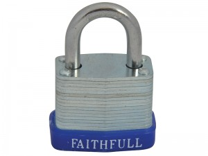 Faithfull Laminated Steel Padlock With 3 Keys (Various Sizes)