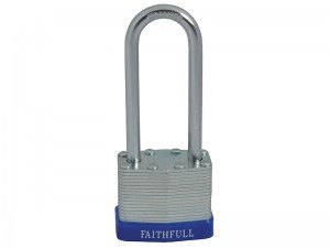 Faithfull Long Shackle Laminated Steel Padlock With 3 Keys 40mm