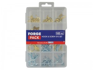 ForgeFix Screw Hook & Eye Assorted Set 102-Piece in Organiser Forge Pack Case