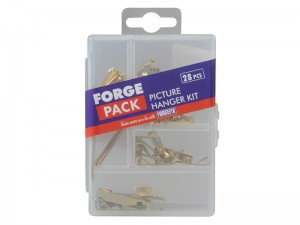 ForgeFix Picture Hook Brass Plated Fixings Kit 28-Piece Forge Pack