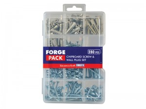 ForgeFix Chipboard Screw & Wall Plug Set Forge Pack 280-Piece Kit