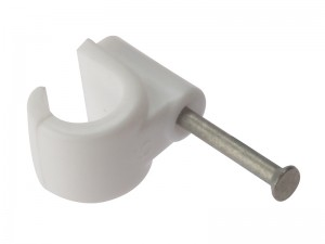 ForgeFix Pipe Clip with Masonry Nail Single Open-Lock White Box of 100 (Sizes 9-28mm)