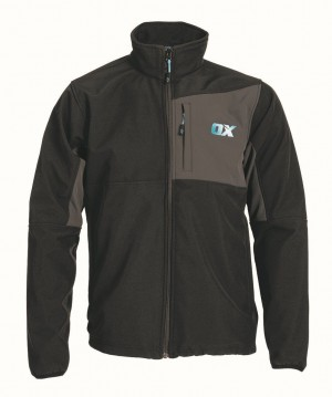 Ox Softshell Work Jacket Black & Grey (Sizes S-XXL)