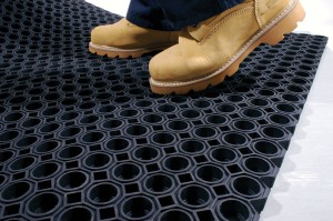 Ringmat Black Rubber Long Life Floor Mat Honeycomb Pattern