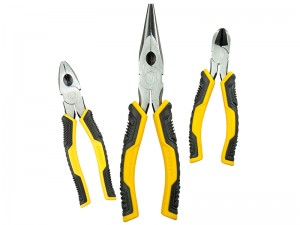 Stanley Control Grip Combination Diagonal Long Nose Pliers Set 3-Piece