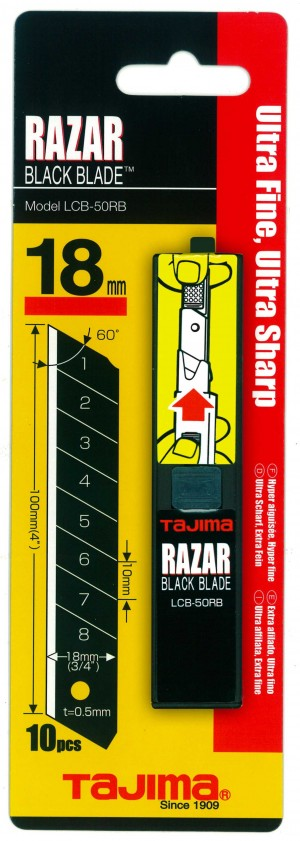 Tajima Razar Black Blade Dispenser 18mm Pack of 10