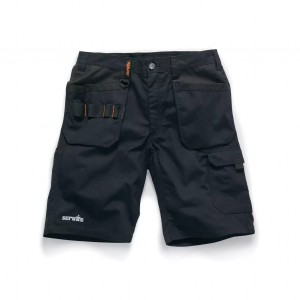 Scruffs Trade Flex Slim Fit Work Shorts With Holster Pockets Black Hardwearing (Various Sizes)