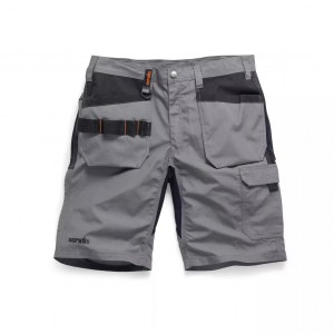 Scruffs Trade Flex Slim Fit Work Shorts With Holster Pockets Graphite Grey Hardwearing (Various Sizes)