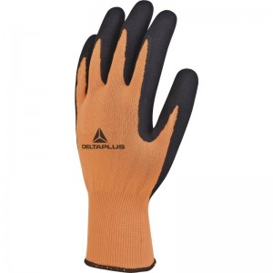 Delta Plus APOLLON VV733 Safety Gloves Orange (Various Sizes) Polyester with Latex Coating