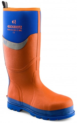 Buckler BBZ6000OR Waterproof Rubber Safety Wellington Boots Orange (Sizes 5-13)