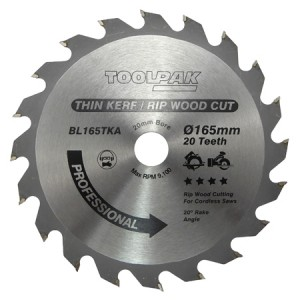 Toolpak Thin Kerf Cordless TCT Circular Saw Blades (Various Sizes)
