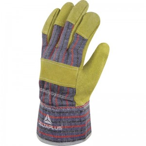 Delta Plus DC103 Safety Rigger Gloves Split Cowhide Leather / Cotton Canvas - Size 10