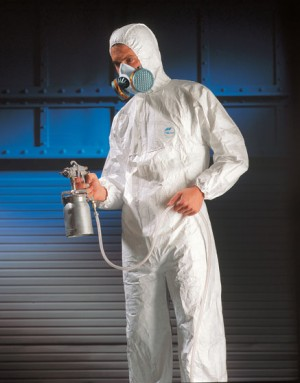 DuPont Tyvek Pro Tech Liquid Protection Type 5&6 White Hooded Coverall (Sizes S-XXXL)
