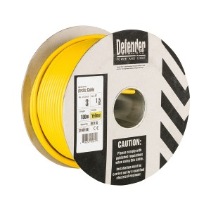 Defender H05 VV-F Low Temp 110v Yellow Arctic Cable 100mtr Drum (various options)