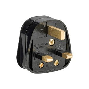 Defender 13amp Black Rubberised Nylon Plug 230v