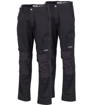 JCB Twin Pack Essential Cargo Work Trousers Black (Various Sizes)