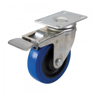 Fixman Blue Elastic Rubber Castor Wheel with Brake (Various Sizes)