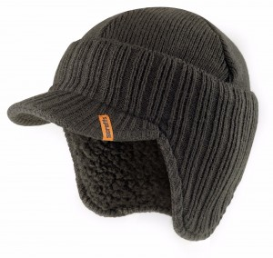 Scruffs Peaked Beanie Hat Graphite Grey Warm Winter Insulated Workwear