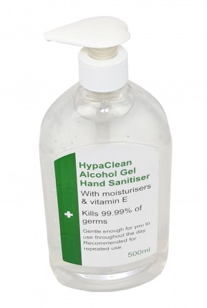 HypaClean Alcohol Hand Sanitiser Gel 500ml with Moisturisers & Pump Bottle