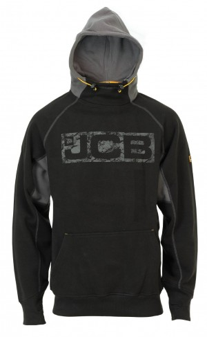 JCB Horton Hoodie Black/Grey (Sizes S-XXL) Work Hooded Jumper